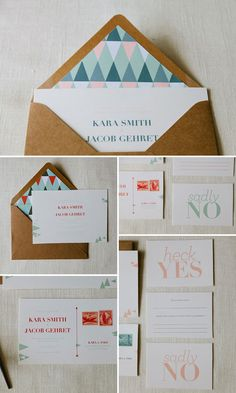 """AllieRuth Kara Wedding Invitations - loving the """"heck yes"""" or """"sadly no"""" RSVP cards."""