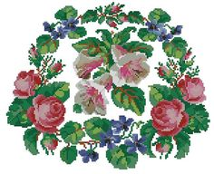 This pattern was published in Englishwoman Domestic Magazine. It was intended for decorating of a lounging chair in a drawing room with Berlinwork wool stitching. You can stitch in either cross stitch or in gobelin stitch with wool or cotton threads. The reconstruction is made for DMC threads. 115 x 128 stitches 29 colours The pattern is in .pdf format and includes both black-and-white and colourful versions. _______________________ «Victoriana patterns» is a small home-based business of…