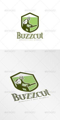 Buzzcut Arborist and Tree Surgeons Logo. Logo showing illustration of arborist tree surgeon lumberjack holding a chainsaw set insi