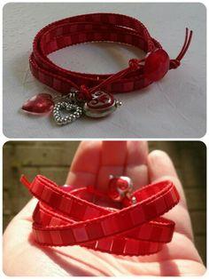 Red leather wrap. Wrap Bracelets, Red Leather, Jewelry, Jewlery, Jewerly, Wire Wrap Bracelets, Schmuck, Jewels, Jewelery