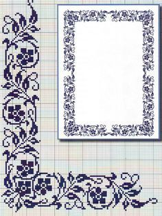 cross stitch on Stylowi. Filet Crochet Charts, Crochet Borders, Cross Stitch Borders, Cross Stitch Flowers, Cross Stitch Designs, Cross Stitching, Cross Stitch Embroidery, Cross Stitch Patterns, Mantel Azul