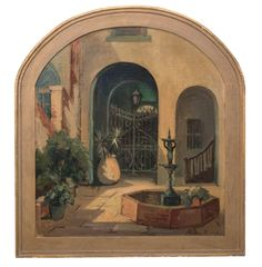 ALBERTA KINSEY (NEW ORLEANS, 1875-1952)  Courtyard Scene. Oil on board Signed lower right. Board: 26 inches x 23 1/4 inches.  Michael Hall Antiques  #fineart #art #painting #antique #antiques #americanantiques #southernamerica #michaelhallantiques