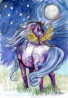 Moonlight Unicorn Ride limited edition giclee by 4BearsPress