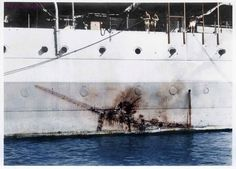 "On 26 July 1945, her Task Force was attacked by two bombers acting as ""Kamikaze"" suicide weapons. One made an imprint on the side of the HMS Sussex, from which it could be identified as a Mitsubishi..."