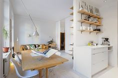 kitchen, dining, to living. open space plan.