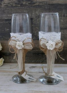 Wedding Glasses Toasting Flutes Champagne Glasses Burlap and Lace Glasses Rustic Wedding Champagne Wedding reception Bride Groom Glasses Rustic Wedding Glasses, Wedding Toasting Glasses, Wedding Champagne Flutes, Toasting Flutes, Champagne Glasses, Wedding Rustic, Trendy Wedding, Diy Wedding, Wedding Reception