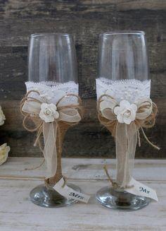 Wedding Glasses Mr and Mrs Toasting Flutes by HappyWeddingArt