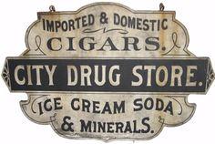 Rhodes' Pharmacy Vintage Labels, Vintage Ads, Vintage Signs, Vintage Posters, Vintage Type, Vintage Stuff, Vintage Sewing, Metal Signs, Wooden Signs