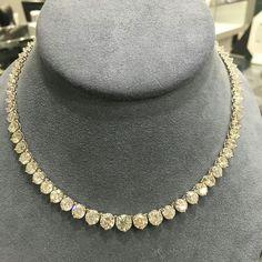 @hamradiamonds. Gorgeous statement tennis necklace over 40carats of diamonds