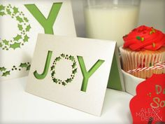 Laser Cut Joy Mini Christmas Card Set from Alexis Mattox Design.  They are great for gift tags and writing holiday messages to your kids!