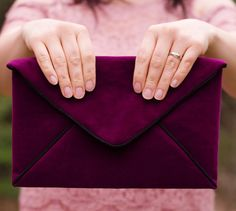 Elegant Envelope DIY Clutch | Make this sophisticated clutch bag with velour for the perfect winter accessory!