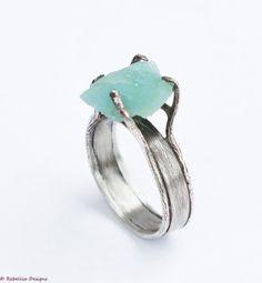 Rough Aquamarine Ring Sterling Silver Patina