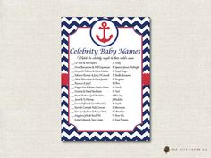 Nautical Celebrity Baby Shower Game  by OakCityPaperCompany