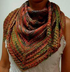 Homage - Shawl or Scarf pattern by elen brandt. malabrigo Rios, Liquidambar color.