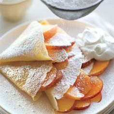 these r crepes! Yumm Peaches & Cream Crepes from Think Food, I Love Food, Good Food, Yummy Food, Tasty, Healthy Food, Dessert Healthy, Healthy Recipes, Breakfast And Brunch