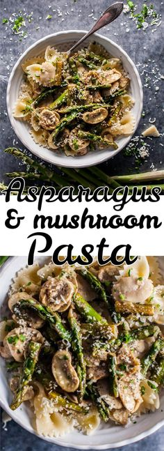 This asparagus and mushroom pasta is a healthy, light, and super flavorful meatless dish that comes together quickly and is reminiscent of spring.
