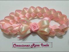 Como hacer Diadema Tejida Nudos Ysabel Pap, How to make Knitted Headband Knots Diy Lace Ribbon Flowers, Satin Ribbon Roses, Ribbon Art, Diy Ribbon, Ribbon Crafts, Ribbon Bows, Fabric Flowers, Paper Flowers, Mothers Day Crafts