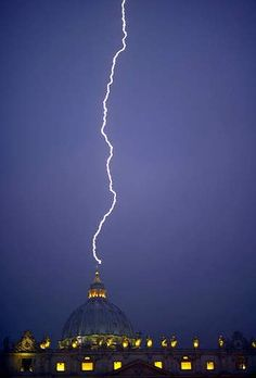 A message from above? ... lightning strikes St Peter's dome at the Vatican hours after Pope Benedict XVI resigned.  www,liberatingdivineconsciousness.com