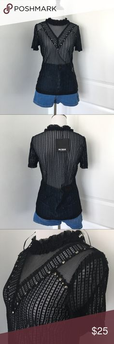 Zara Mesh Top Black see through mesh and Lace Tshirt with a ruffled high Neck and silver studs from Zara Size medium Brand new with tags! Zara Tops Tees - Short Sleeve