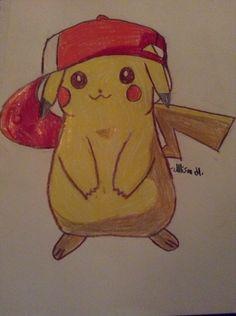 Pikachu wearing Ash's hat: Credit-Hyrulean Pikachu