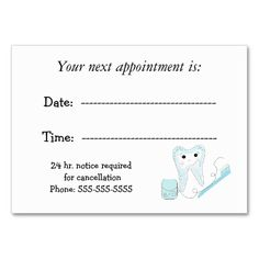 Dental Appointment Reminder Business Card. This great business card design is available for customization. All text style, colors, sizes can be modified to fit your needs. Just click the image to learn more!