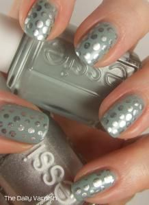 Essie Maximillion Strasse Her + Essie No Place Like Chrome polka dots
