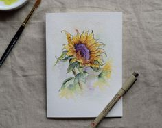 Sunflower Watercolor Painted Card Prints only by SunsetPeonies