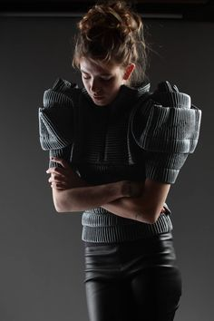 Sculptural Fashion - ribbed top with oversized 3D sleeves; artistic fashion design // Sandra Backlund