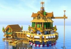 Minecraft house on the water - Daria - Haus Ideen - Minecraft Water House, Minecraft World, Plans Minecraft, Easy Minecraft Houses, Minecraft Houses Blueprints, Minecraft House Designs, Amazing Minecraft, Minecraft Tutorial, Minecraft Crafts
