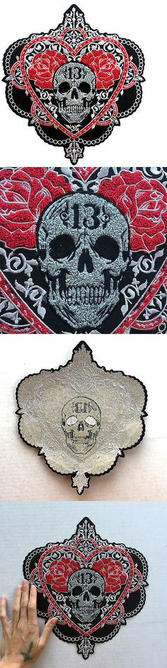 Patches 113337: Lucky 13 Back Patch Badge Victorian Skull And Roses Chenille Felt Gothic Pinup -> BUY IT NOW ONLY: $45 on eBay!