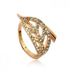 Modes gredzens ar austrijas kristāliem 18k (apzeltīts)