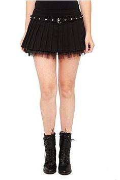 hot topic royal bones black belted skirt ruffles pleated lace tulle underlay tripp mini goth gothic alternative