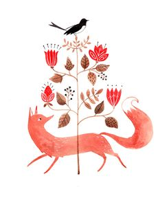 Fox & Magpie | by Julianna Swaney. Available as a print here: shop.juliannaswaney.com/product/fox-magpie