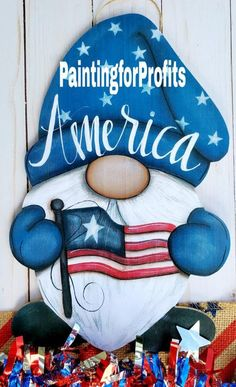July Crafts, Holiday Crafts, Patriotic Crafts, Rock Crafts, Crafts To Make, Gnome Paint, Gnome Door, Tole Painting, Painted Rocks