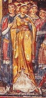 A fresco from the Church of S. Clemente in Rome, 12th Century: The right woman's bliaut also has an empire-waisted belt. Her head covering is either a cap or a veil tied behind her neck.