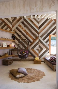 Wood effect geometric panoramic wallpaper WOODEN - Inkiostro Bianco