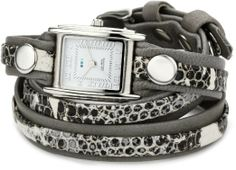 La Mer Collections Women's LMLW4045 Cement Snake Silver Layered Wrap Watch