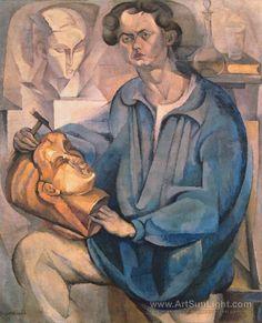 The sculptor, Oscar Miestchaninoff, 1913 by Diego Rivera (Mexican 1886-1957)