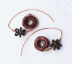 Brown Donut Ceramic Wire Flower Bead Copper Wire Wrap Unique Hoop Earrings