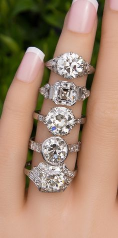 Engagement Ring Worn On Which Hand regarding Antique Engagement Rings Square Set Retro Engagement Rings Square Engagement Rings, Antique Engagement Rings, Designer Engagement Rings, Engagement Hand, Wedding Rings Vintage, Wedding Jewelry, Antique Diamond Rings, Chanel, Wedding Ideas