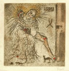 Pieta with Mouse Bohuslav Reynek Drypoint/monotype 17 x 11 cm. Favorite Words, Sacred Art, Pilgrim, Graphic Art, Art Photography, Drawings, Artist, Painting, Fine Art Photography