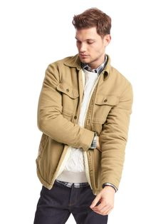 Sherpa-lined shirt jacket by Gap