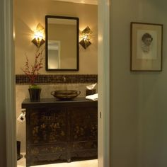 Chinese cabinet and Indian urli made into vanity and sink