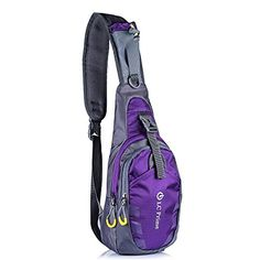 LC Prime Sling Bag Chest Shoulder Unbalance Gym Fanny Backpack Sack Satchel Outdoor Bike nylon fabric purple 1 -- Click image for more details.