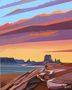 Rafe Terry Monument Valley Sunset Acrylic on Board H x W Landscape Quilts, Abstract Landscape, Landscape Paintings, Landscape Illustration, Illustration Art, Cgi, Monuments, Western Landscape, Desert Art