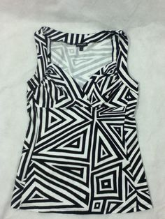 ac71a4b2d61 Express Womens Size S Black White Geometric Striped Tank Top Shirt EUC WOW   Express