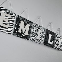 Fabric Name Wall Plaque Personalized for Baby or Girls Room, Black  and White Collection, Silver Painted Wood Letter, Zebra, Floral, Chevron...