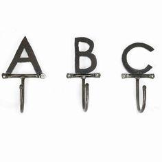 handmade custom letter hooks by thesteelfork on etsy