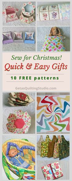 Quick and easy gifts to sew for Christmas- 10 FREE patterns for quilts, boxes, bowls, shopping bags and more.