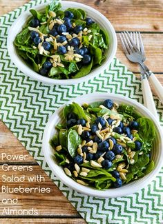 This Power Greens Salad with Blueberries and Almonds is a perfectly delicious and healthy salad for any summer holiday party!  (Paleo, Gluten-Free, Vegan) [from KalynsKitchen.com]